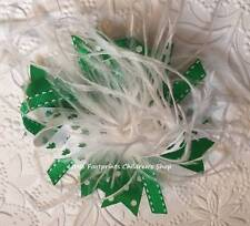 """Green & White St. Patrick's Day Shamrock Feather Hair Bow 5"""""""
