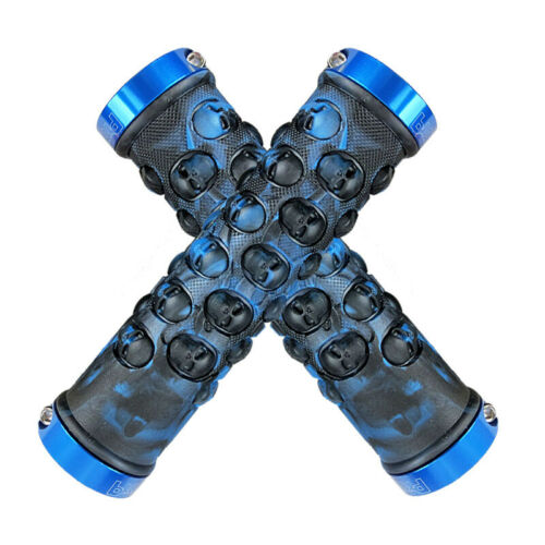 Propalm Skull TPR rubber Handlebar Lock on Grip MTB AM bike fixie bar Grips Blue