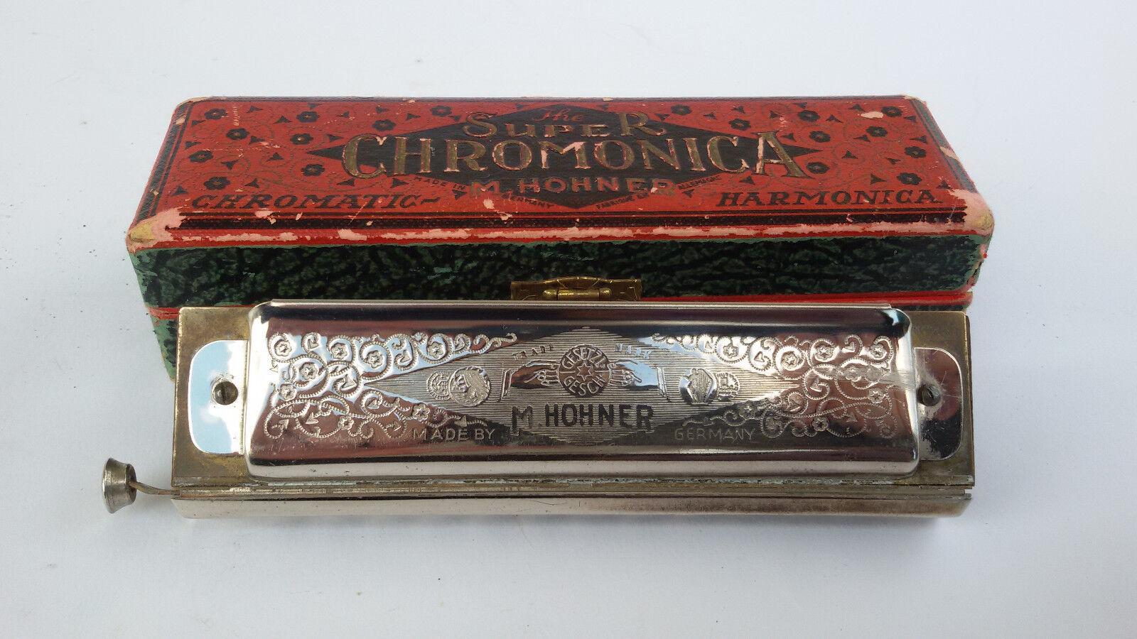 RARE VINTAGE THE SUPER HARMONICA CHROMATIC M.HOHNER + ORIGINAL BOX