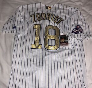 quality design c3026 0af2e Details about BEN ZOBRIST SIGNED CHICAGO CUBS GOLD WORLD SERIES JERSEY  AUTO+JSA COA!