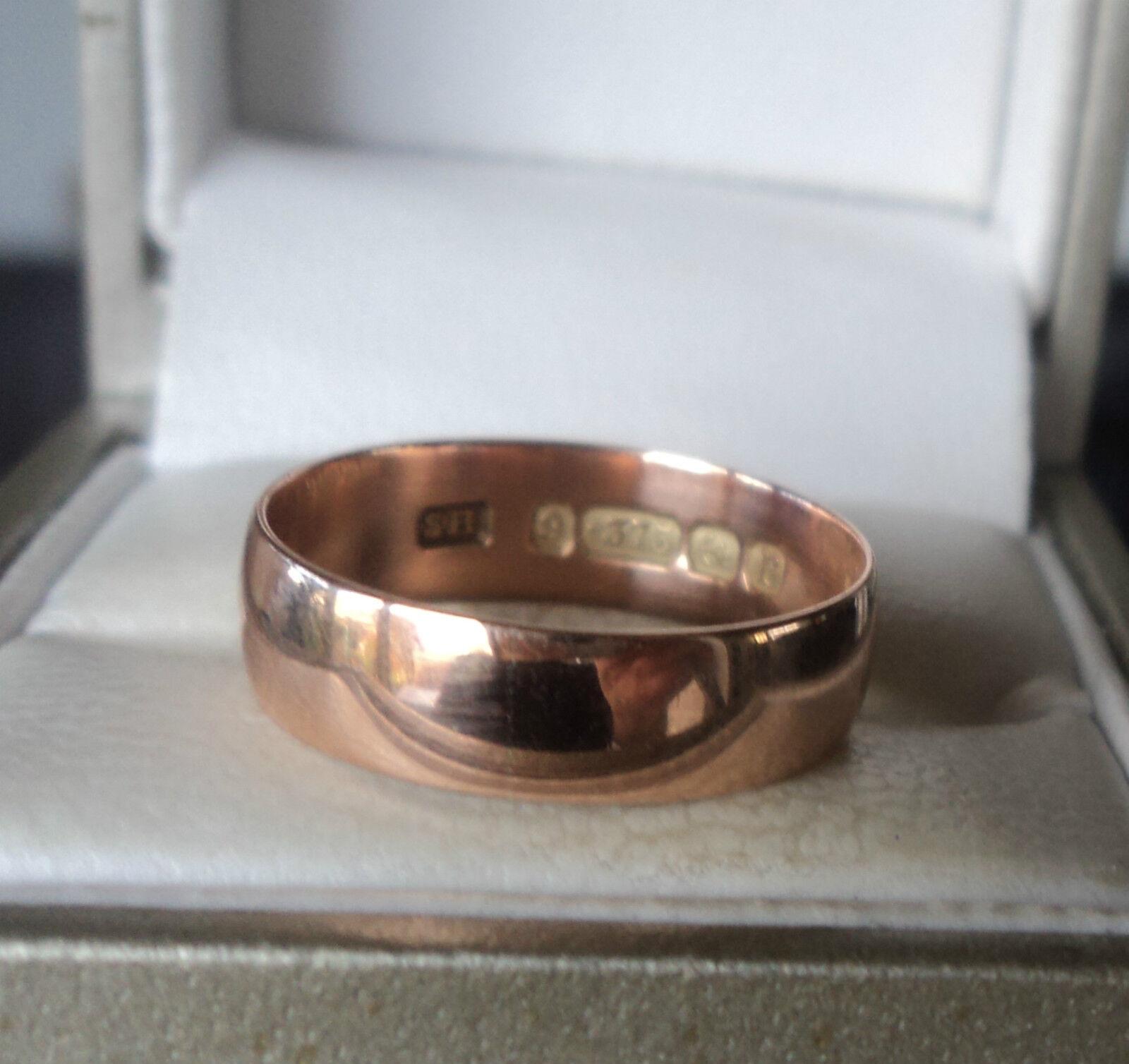 VINTAGE Early 9ct rosa rosa rosa oro semplice Fede nuziale Ring 1916 BIRMINGHAM-Dimensione N 96eba2