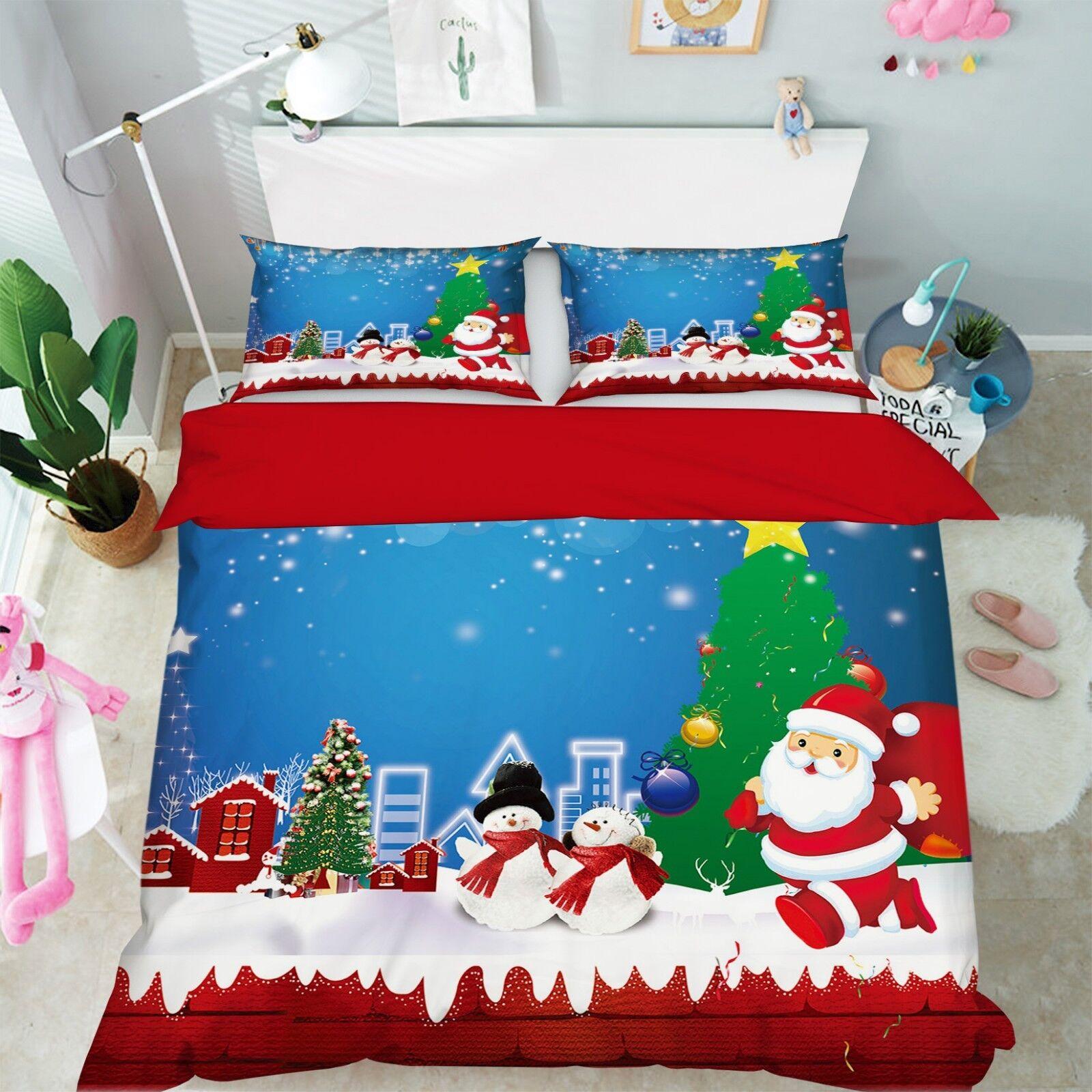 3D Christmas Xmas rot 63 Bed Pillowcases Quilt Duvet Cover Set Single King UK