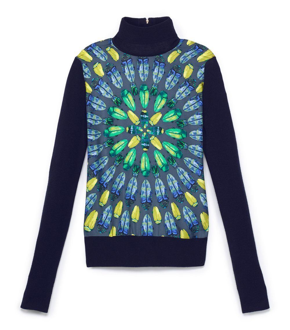 Tory Burch Scarab Beetle Silk Panel Sweater Merino Wool  S 4 6  RARE Wren