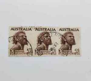 Australia 1952- Aborigine 2.6 shilling SC 248 Used strip of 3v C22