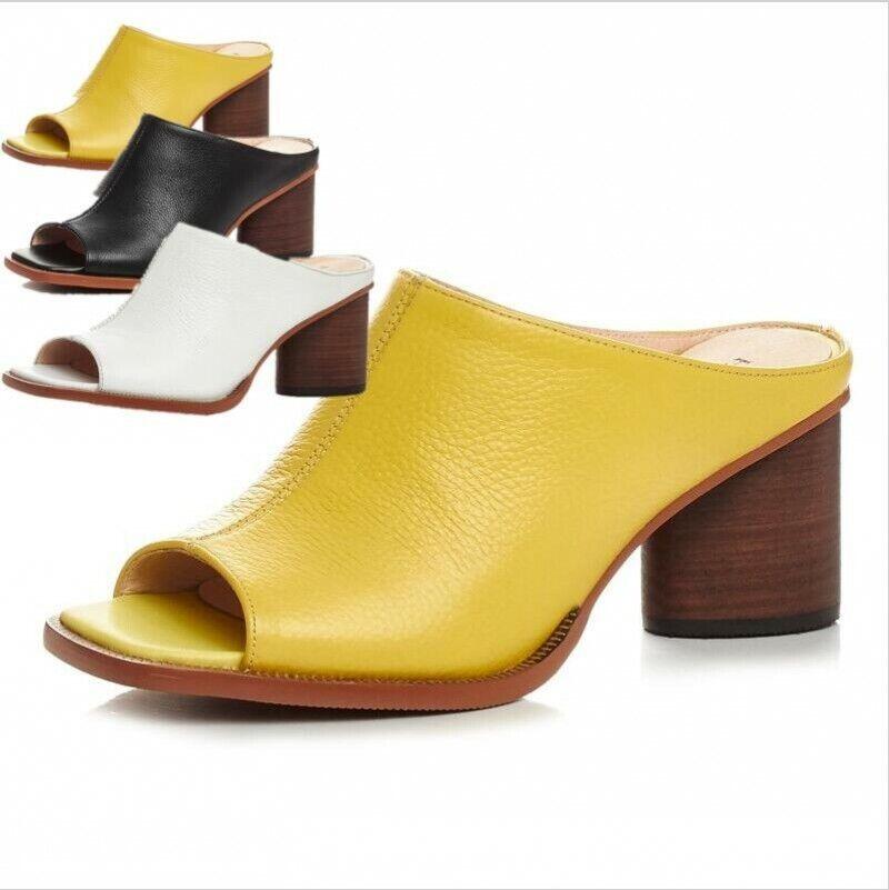 productos creativos Nueva camiseta para mujer mujer mujer Bloque De Puntera abierta Tacones Gruesos Cuero Zapatos Sandalias Zapatillas Tacones Mula  varios tamaños