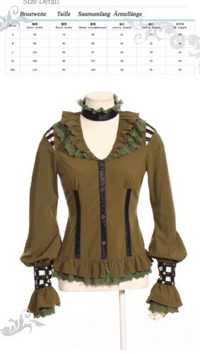 RQ-BL Steampunk Bluse Gothic Lolita Khaki Military Spitze Victorian Shirt S105