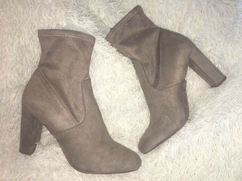 Steve Madden Faux Suede Taupe Echo Edit High Ankle Bootie SZ 12 NEU
