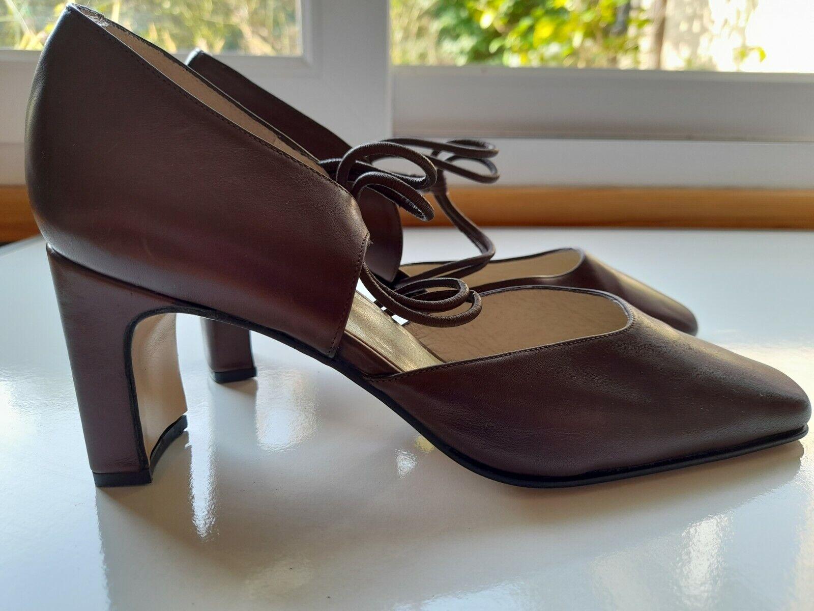 EZZIO Womens Leather Brown Metallic Mid Heel Sandal EU 37/38 UK 5. Made in Spain