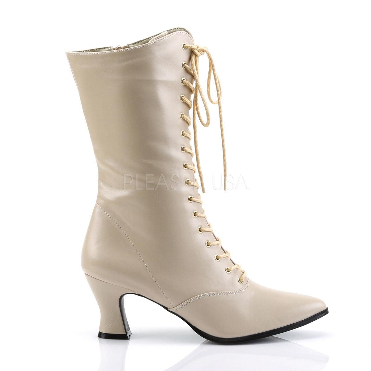 Crema Nude Victoriano Vintage Disfraz Abuela botas botas botas Con Cordones Caminar Talla 8 9 10 11  ordenar ahora