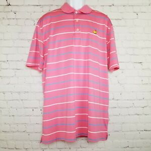 Masters-Tech-Mens-Polo-Shirt-Augusta-National-Size-XL-Pink-Striped-Short-Sleeve