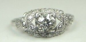 Antique-Art-Deco-Vintage-Diamond-Engagement-Platinum-Ring-Size-7-75-UK-P-EGL-USA