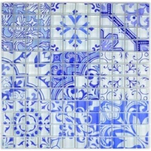 Mosaïque carreau verre translucide rétro Blau Design 88-Retro-33_f   10 plaques