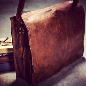 Men-Vintage-Leather-Briefcase-Messenger-Carry-On-Shoulder-Bag-Satchel-Handmade