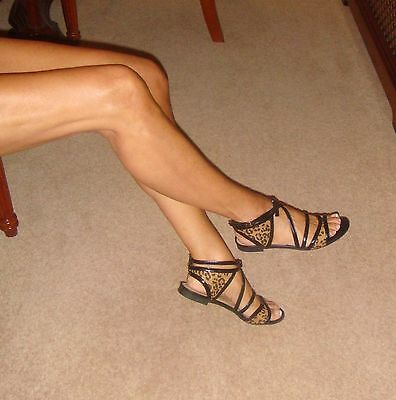 Zara Shoes Size 4 Sought-After Flat Black/Leopard Strappy Open-Toe Sandals