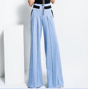 Elegant Women's bluee Pants High Waist Cotton Loose Fit Wide Leg Slim Trousers