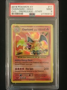 2016 Pokémon XY Evolutions PSA 9 Charizard 11/108 Staff Prerelease Holo MINT