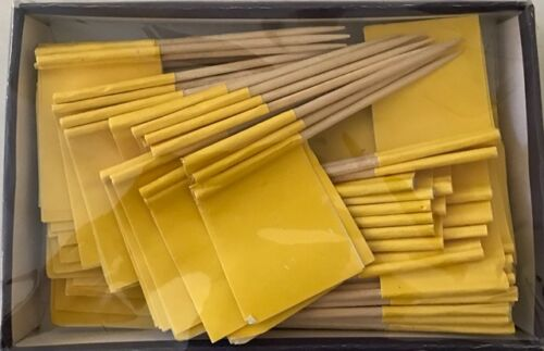 LOT OF 25 BOXES Solid Yellow Toothpick Flags, 100 flag toothpicks per box