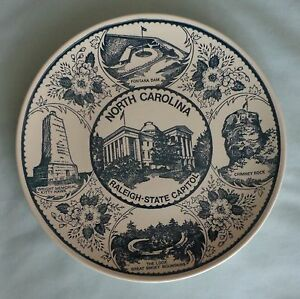North Carolina Raleigh State Capitol Souvenir Collector Plate Ironstone Vintage
