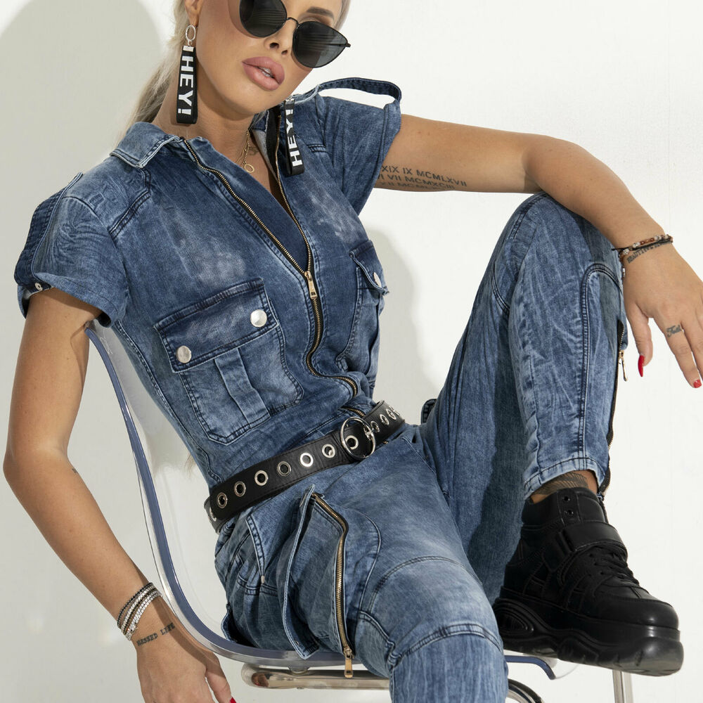 By Alina Femmes Overall Jumpsuit Jeans Overall Combishort Cargo Jeans Catsuit Xs-m