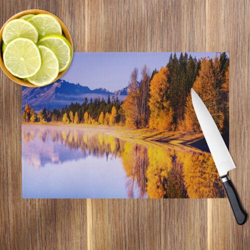 Orange Blue Forest Autumn Glass Chopping Board Kitchen Worktop Saver Protector