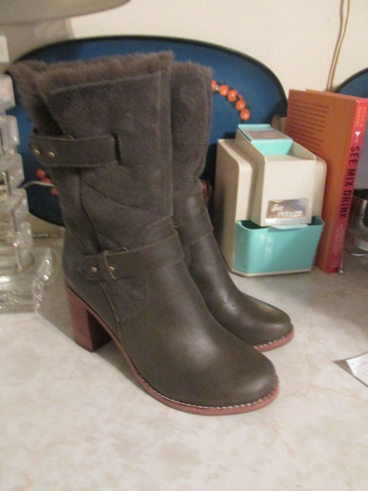 JEFFREY CAMPBELL Sz 6 Arbour  Leather Shearling Heel Boots  NWOB