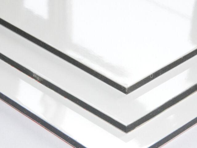 Aluverbundplatte WEISS 3mm / 0,3mm Aluminium Verbundplatte Platte ähnl. Dibond