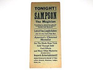 Vintage Antique Circus Poster Magic Handbill Sampson The Magician