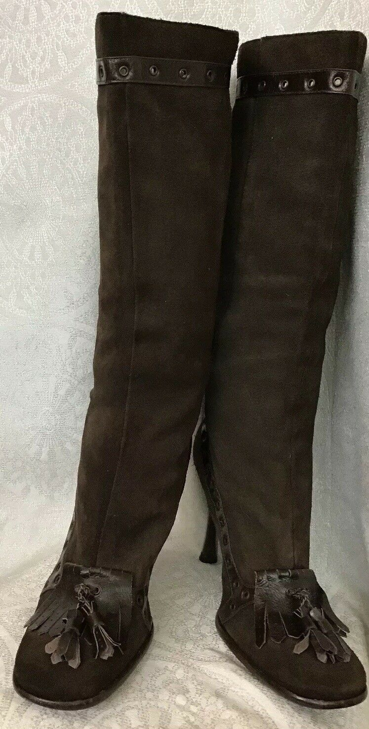 D & G Boot Brown Suede Round Toe Tassel Leather Trim Size 39 1 2