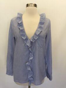 053cf5cf9bbb6 NWT Madewell Sézane Capucine Striped Shirt Top Blouse Light Blue Sz ...