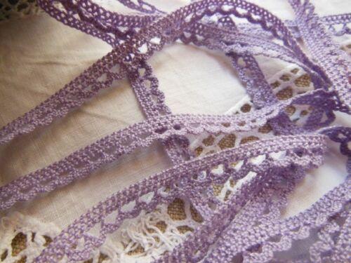 ancienne dentelle vintage en coton lavande 3 métres sur 0,8 cm A3