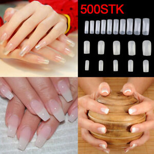 500 Stuck Klar Falsche Nagel Tips Nail Art Kunstnagel Kunstliche