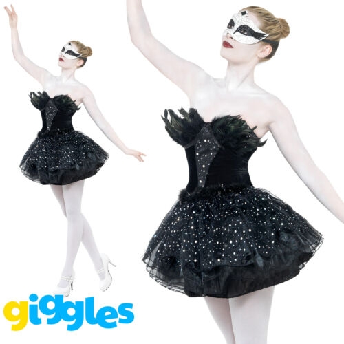 Black Swan Costume Womens Ladies Gothic Masquerade Halloween Fancy Dress Outfit