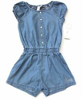 Guess Kids Cap Sleeve Button Down Chambray Embroidered Cotton Romper S M