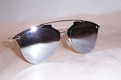 f7efa57d3888 NEW CHRISTIAN DIOR REFLECTED S 85L-DC WHITE SILVER MIRROR SUNGLASSES  AUTHENTIC