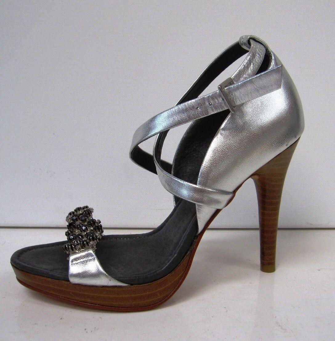 Ted Baker Cristal Bordado Bordado Bordado 4  Tacón Sandalia Zapatos Talla 5 plata Leather  costo real