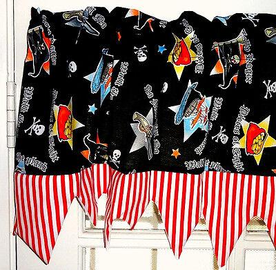 Boys Room PIRATE SKULL Black Red White Stripe Jagged edge Valance Curtain NEW