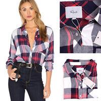 Rails Hunter Plaid Button Down Shirt White Indigo Blush