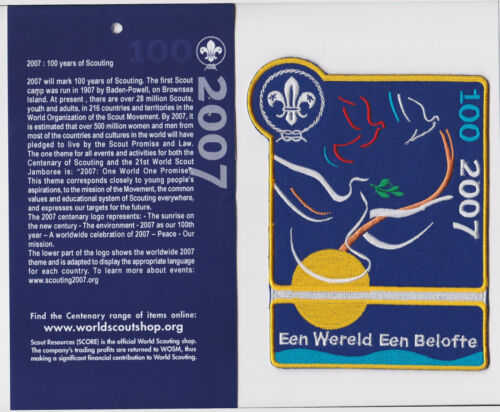 100 Years of World Scouting DUTCH HOLLAND SCOUTS 1 World 1 Promise Backpatch