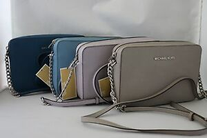 7bed1f597bea Michael Kors Jet Set Travel LG CrossBody Bag - Pearl Grey,Lilac,Sky ...