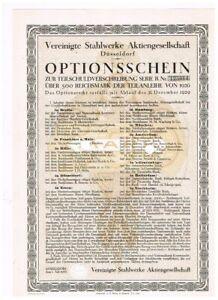 Vereinigte Stahlwerke AG, Düsseldorf 1926, Optionsschein, interessant, VF