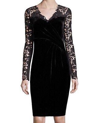 Elie Tahari Blakely Velvet Lace Black Dress Long Sleeve Sz 8 Nwt 498 Ebay