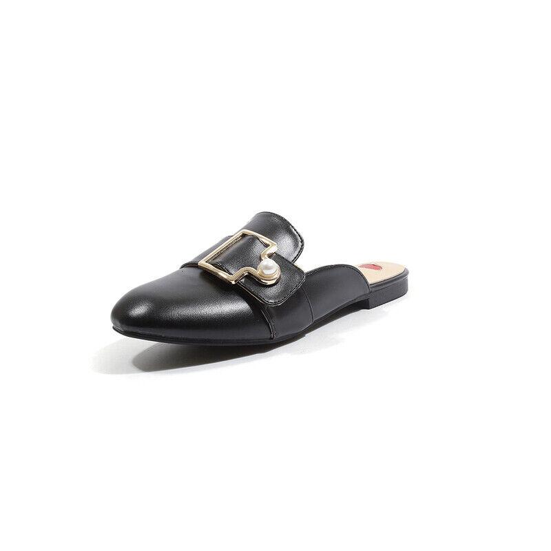 Zapatillas Elegantes Zuecos bajo Negro Perla Cómodo Piel Sintético 1079