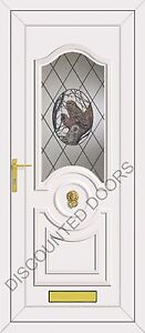 White Buckingham UPVC Front Door With an Owl Glazed Panel, Frame & Letterbox