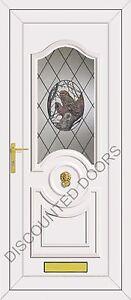 White Buckingham UPVC Front Door With an Owl Glazed Panel, Frame & Letterbox