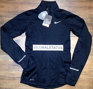 Details about NIKE WOMENS ELEMENT SHIELD FULL ZIP BLACK SILVER RUNNING JACKET 744770 010 SMALL