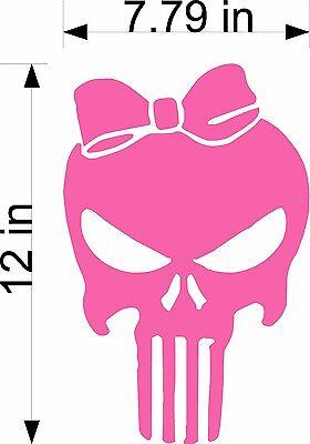"Punisher Skull Girl / PINK / 12"" American Sniper Vinyl Vehicle Decal Sticker Art"