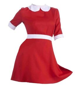 1f702998e2f Details about Ladies Red & White Annie Dress Orphan Girl Fancy Dress Costume
