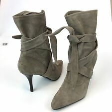 Nine West Gray Suede Leather Tie Stilettos Pointy Toe Women's Boots Sz 8.5 M