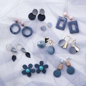Fashion-Woman-Blue-Gray-Series-Earrings-Geometric-New-Personality-Stud-Jewelry