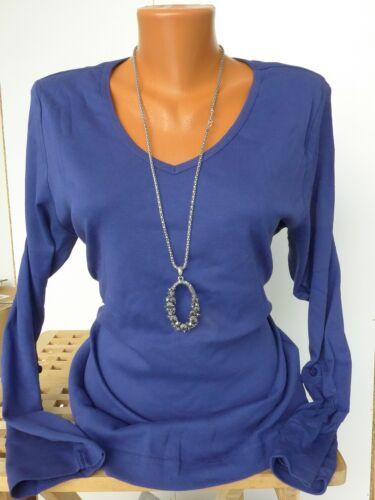 Sheego shirt manches longues taille 40//42-56//58 marine bleu col en v NEUF 758